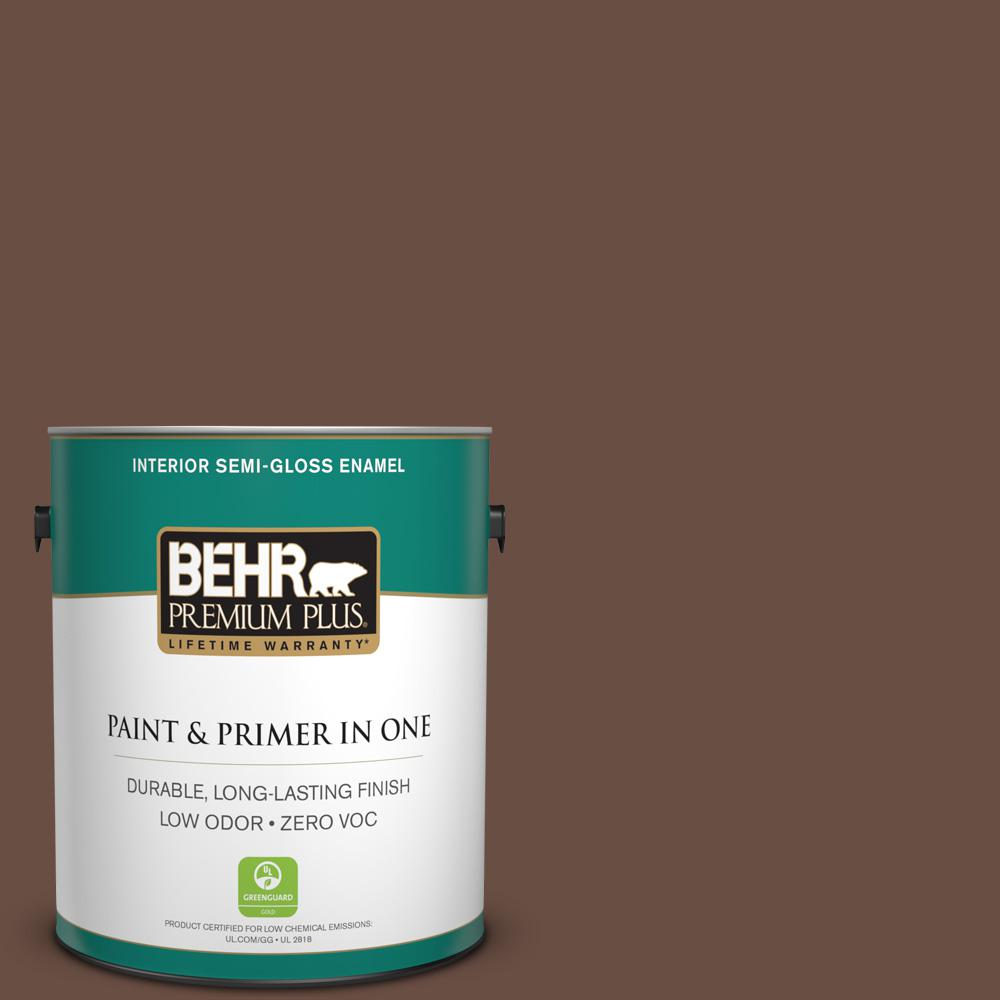 1-gal. #N190-7 Moose Trail Semi-Gloss Enamel Interior Paint