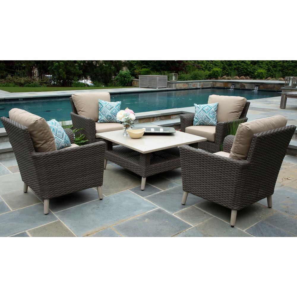 Canopy Wicker Conversation Set Canvas Heather Beige Cushions
