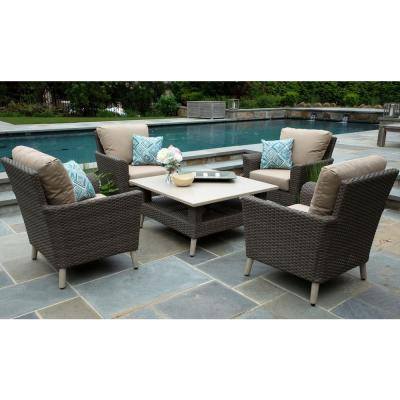 Noble 5-Piece Resin Wicker Patio Conversation Set with Sunbrella Canvas Heather Beige Cushions