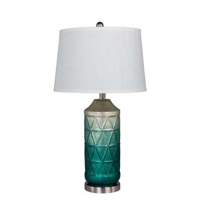 27.5 in. Table Lamp in a White Mercury Glass with Frosted Mist Color Tint in Green