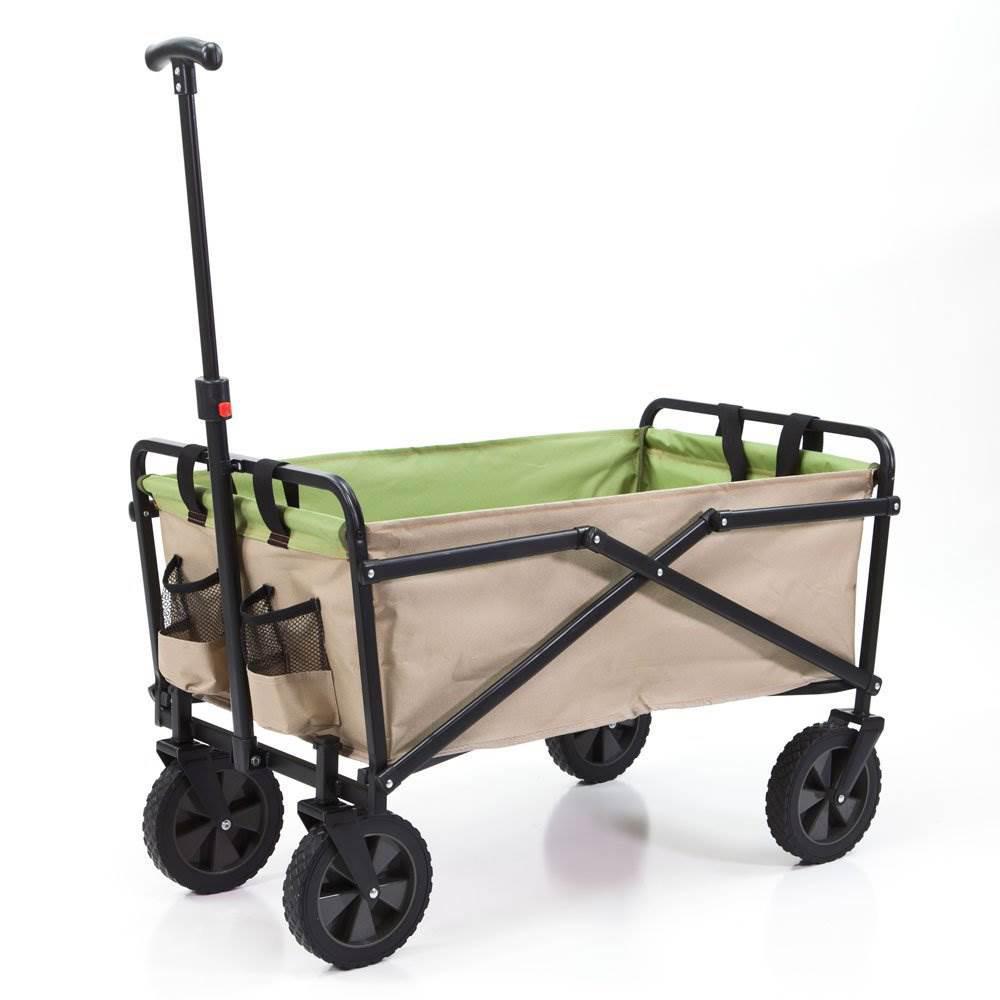 SEINA 150 lbs. Capacity Manual Folding Steel Wagon Outdoor Garden Cart in Tan