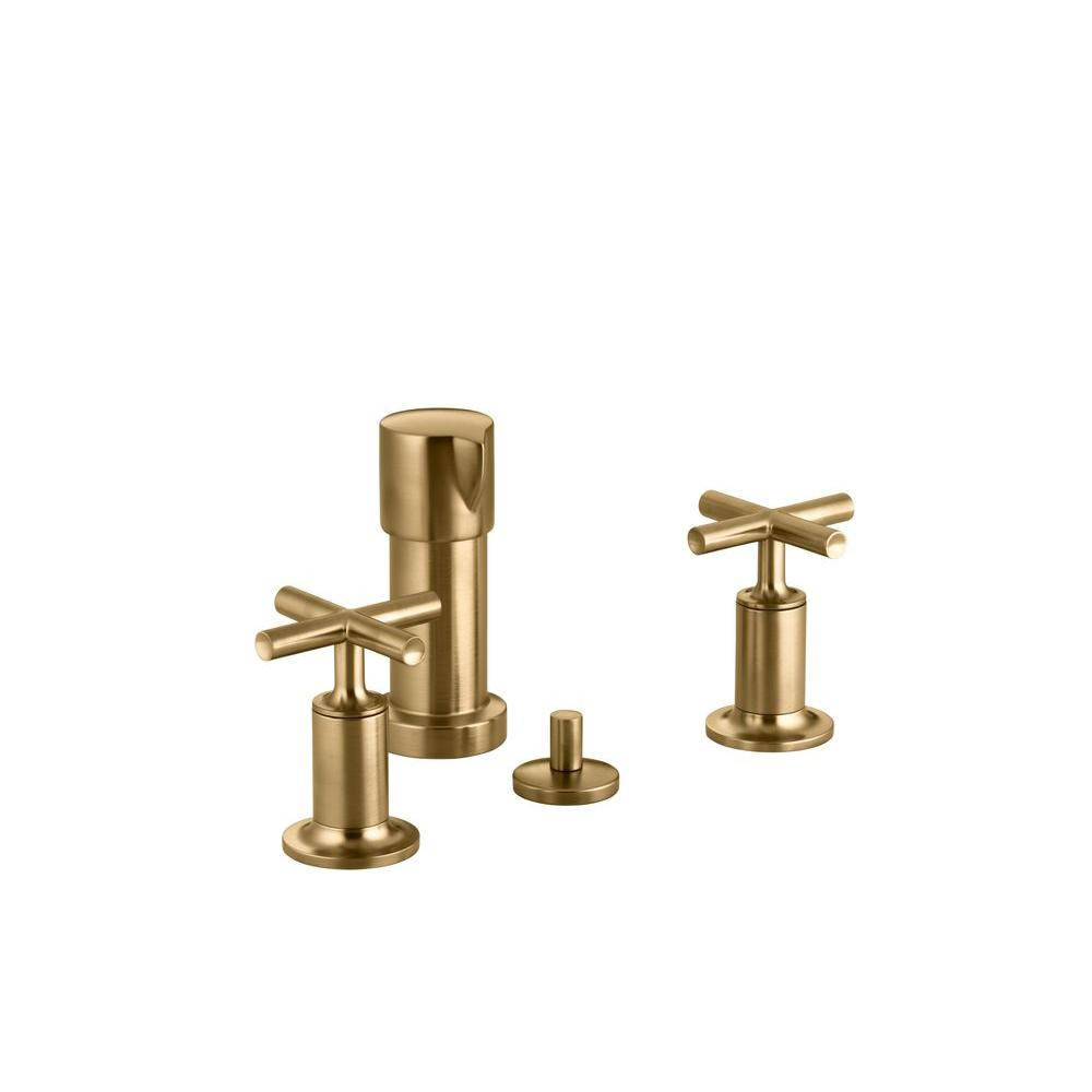 KOHLER Purist 2-Handle Bidet Faucet in Vibrant Moderne Brushed Gold with Vertical Spray and Cross Handles
