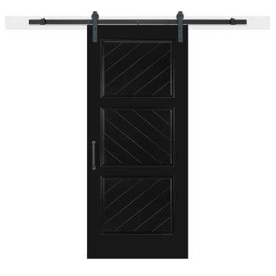 36 in. x 84 in. Knight Composite 3-Panel Herringbone Solid-Core MDF Barn Door with Sliding Door Hardware Kit