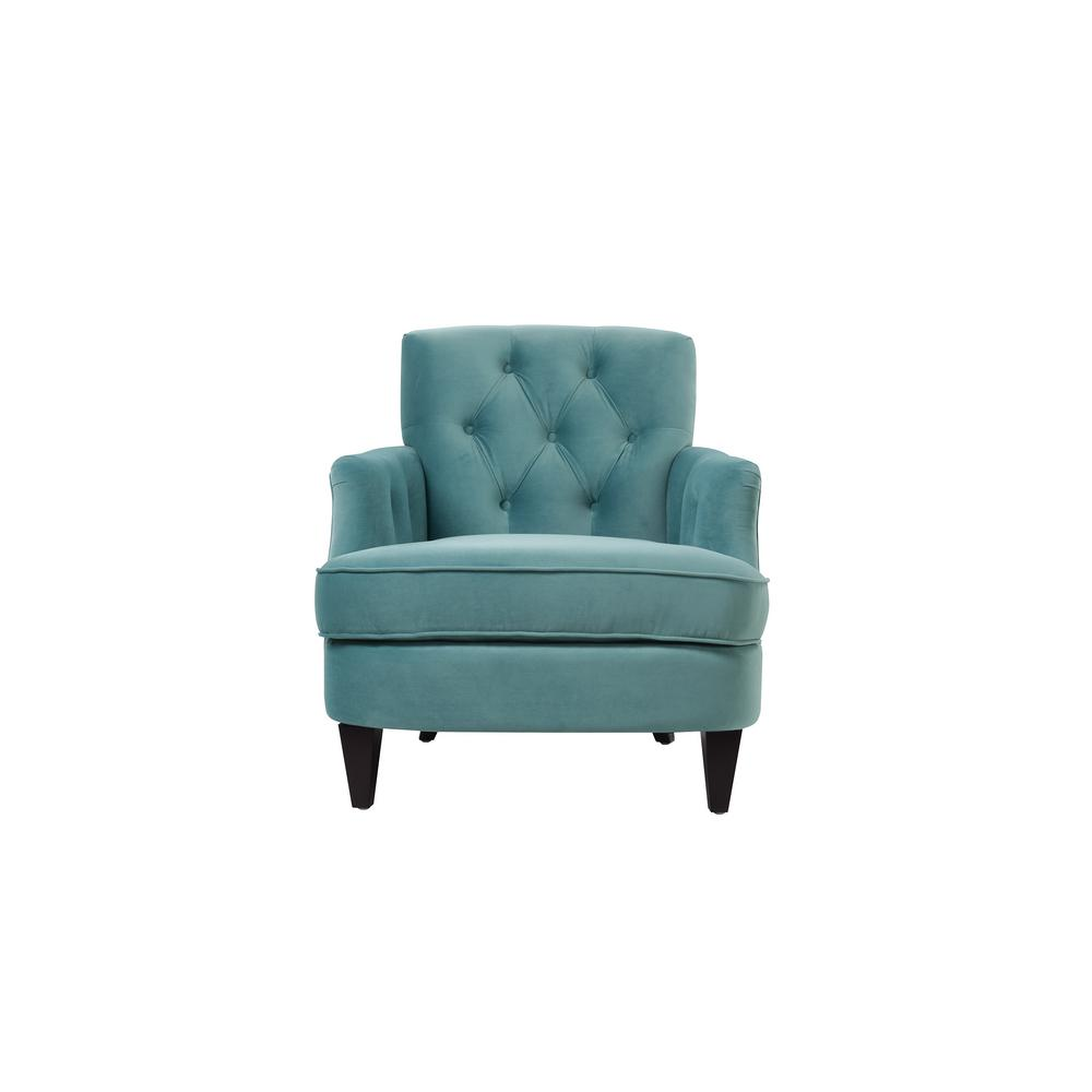 Kelly Arctic Blue Tufted Accent Chair