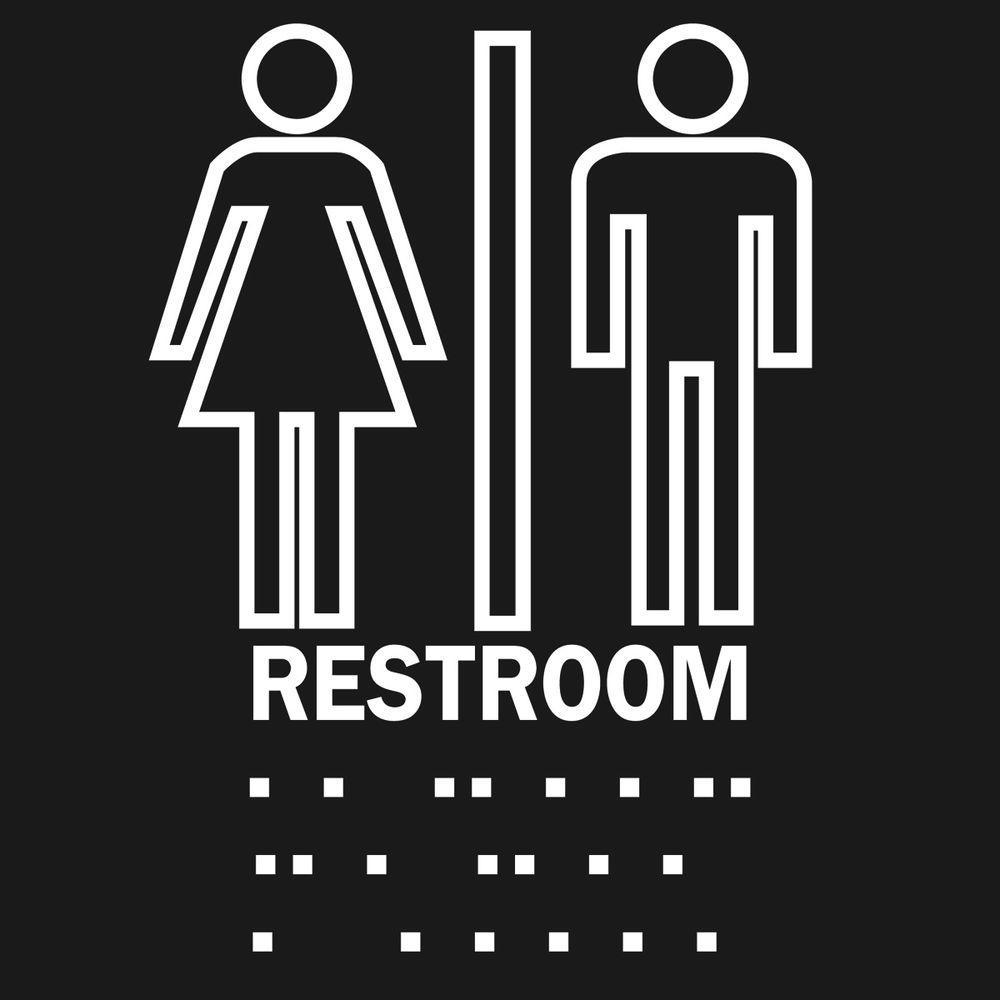 Brady 8 inch x 8 inch Plastic Braille Restroom Sign by Brady