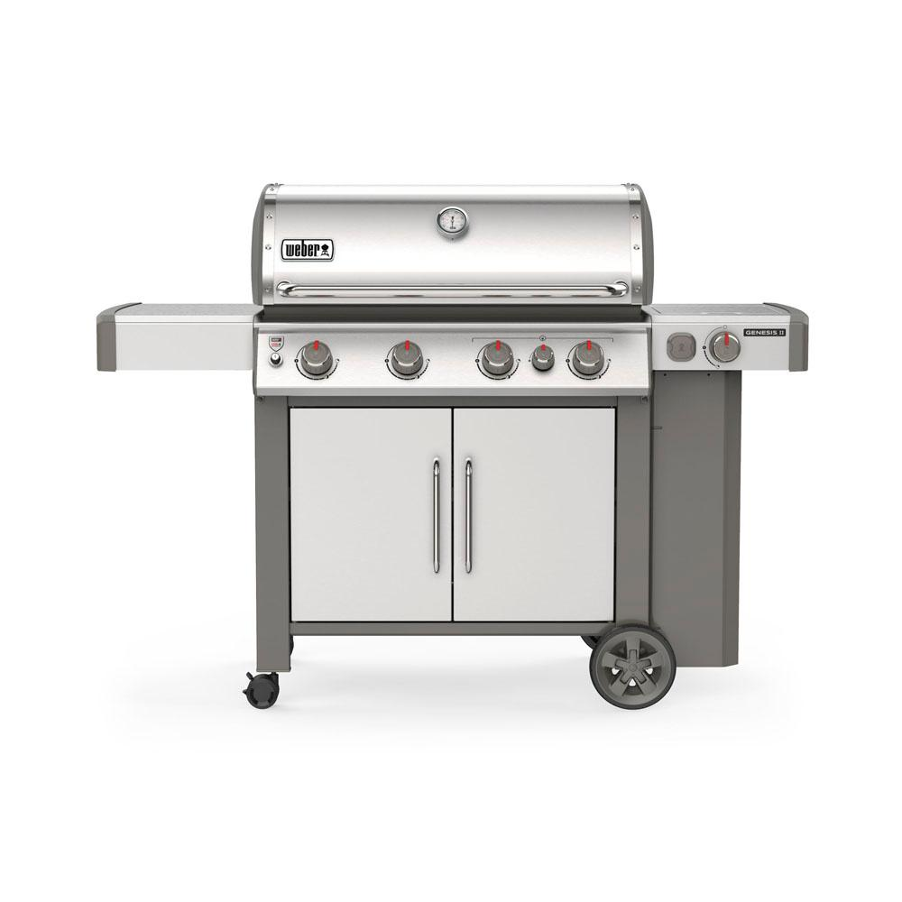 Weber Genesis II S-435 4-Burner Propane Gas Grill in Stainless with  Built-In Thermometer and Side Burner