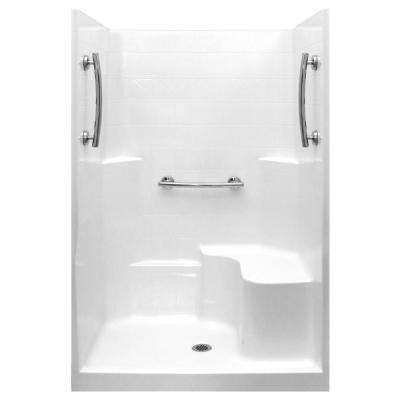 Ultimate 37 in. x 48 in. x 80 in. 1-Piece Low Threshold Shower Stall in White, Grab Bars, RHS Molded Seat, Center Drain
