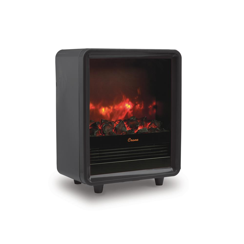 crane 1500 watt mini fireplace heater black ee 8075bk the home