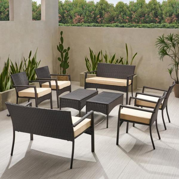 Cancun Multi-Brown 8-Piece Metal Patio Conversation Seating Set with Dark Cream Cushions