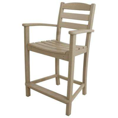 La Casa Cafe Sand Plastic Outdoor Patio Counter Arm Chair