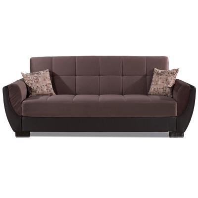 Armada Air 93.5 in. Chocolate Brown Microfiber 3-Seater Full Sleeper Convertible Sofa Bed with Storage