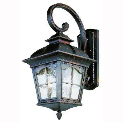 Bostonian 4-Light Antique Rust Outdoor Coach Lantern Sconce with Water Glass