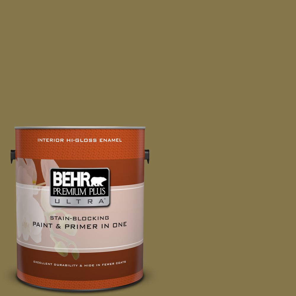 1 gal. #M330-7 Green Tea Leaf Hi-Gloss Enamel Interior Paint