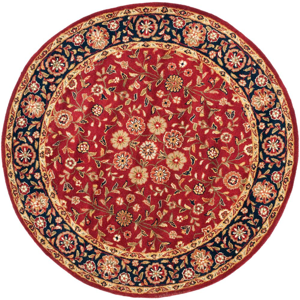 Safavieh heritage red navy 8 ft x 8 ft round area rug for Red and navy rug