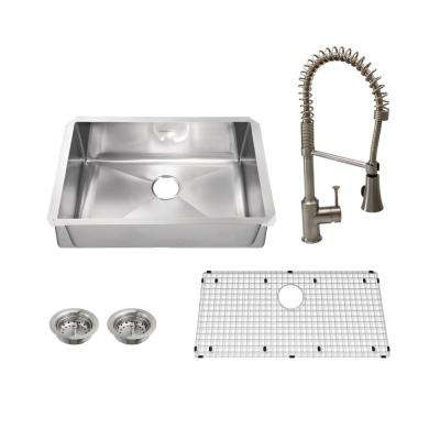 Pekoe All-in-One Undermount Stainless Steel 35 in. Single Bowl Kitchen Sink with Faucet in Stainless Steel