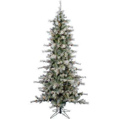 7.5 ft. Buffalo Fir Slim Artificial Christmas Tree with LED String Lighting