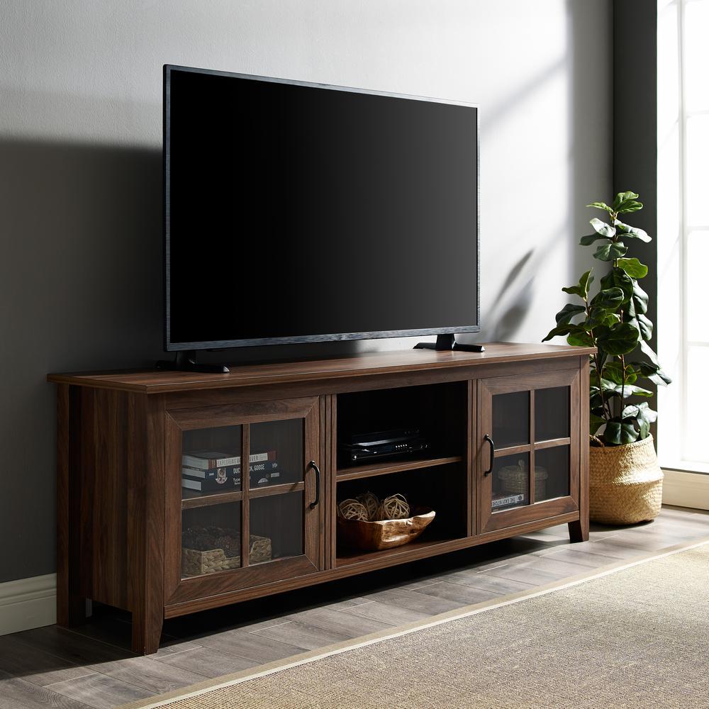 Walker Edison Furniture Company 70 in. Dark Walnut Farmhouse Wood TV