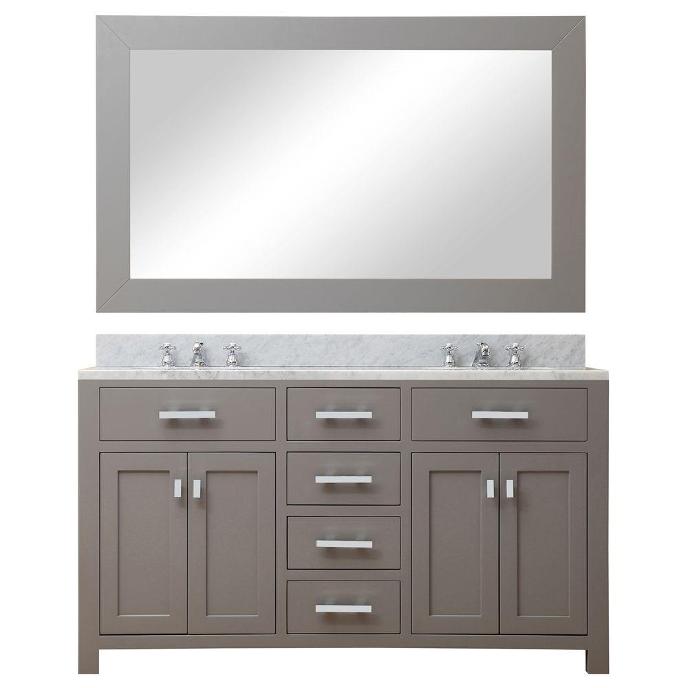 Water Creation 60 In W X 21 In D Vanity In Cashmere Grey With Marble Vanity Top In Carrara White Mirror And Chrome Faucets Madison 60gbf The Home Depot
