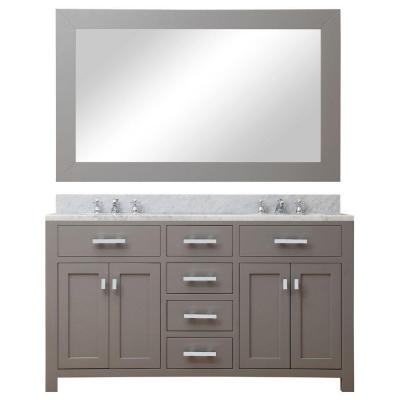60 in. W x 21 in. D Vanity in Cashmere Grey with Marble Vanity Top in Carrara White, Mirror and Chrome Faucets