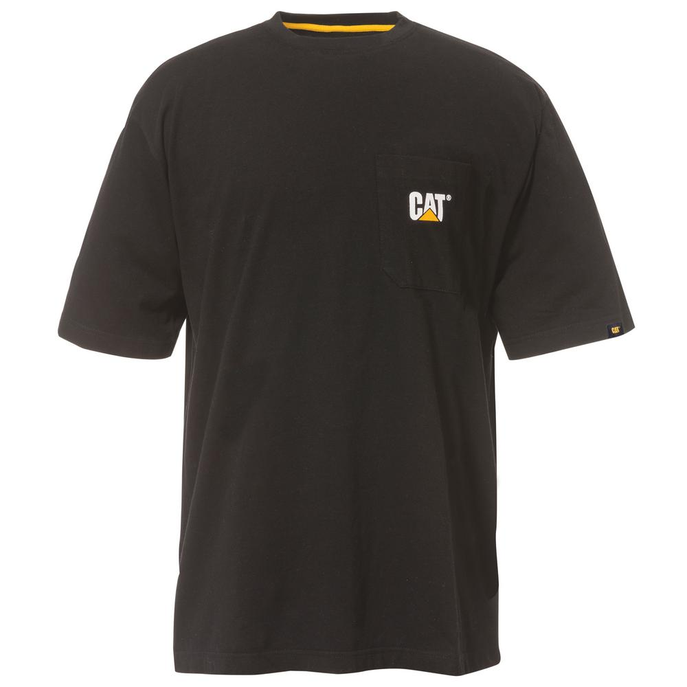 Caterpillar Logo Men's Large Black Cotton Short Sleeved Pocket T-Shirt