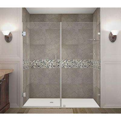 Nautis GS 74 in. x 72 in. Completely Frameless Hinged Shower Door with Glass Shelves in Chrome