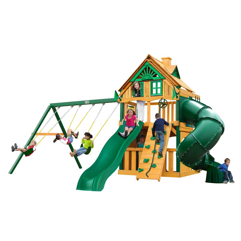 Gorilla Playsets Mountaineer Clubhouse Treehouse Wooden Swing Set with Timber ShieldPosts, 2 Slides, and Rock Climbing Wall