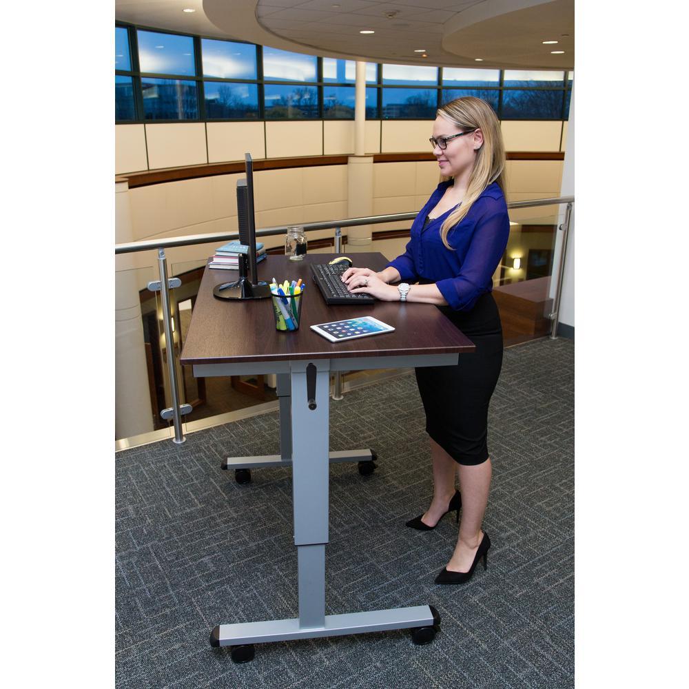 Luxor Silver And Dark Walnut Desk With Wheels Standup Cf48