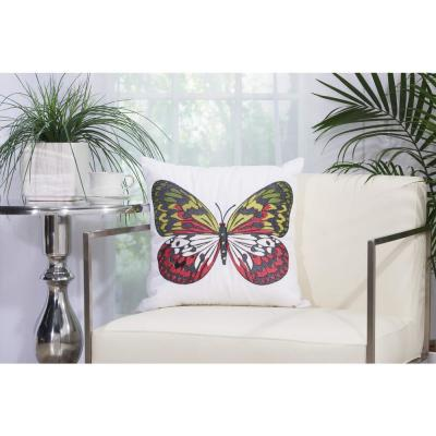 Green Butterfly White Polyester Standard Throw Pillow