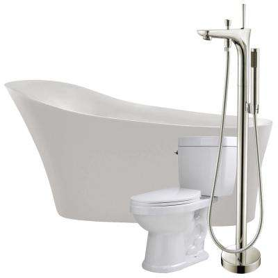 Maple 67 in. Acrylic Flatbottom Non-Whirlpool Bathtub in Glossy White with Kase Faucet and Talos 1.6 GPF Toilet