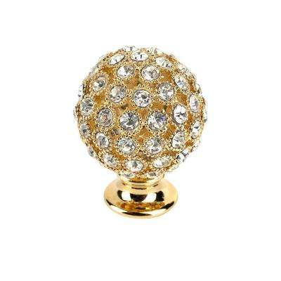 Crystal Collection 1 in. Gold and Crystal Round Knob