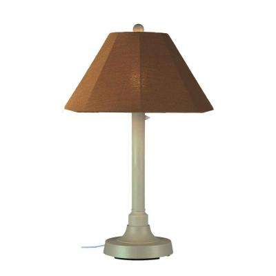 San Juan 34 in. Outdoor Bisque Table Lamp with Teak Shade