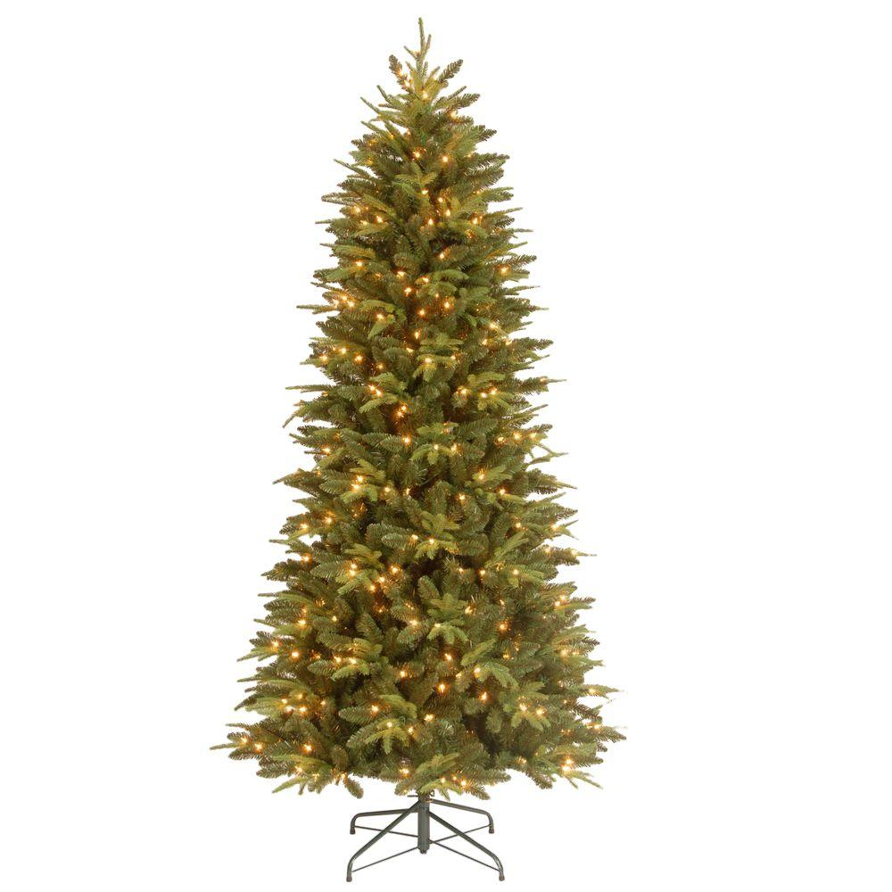 7.5 ft. Feel-Real Pomona Pine Slim Artificial Christmas Tree with ...