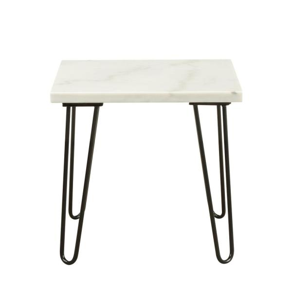 Acme Furniture Telestis Marble and Black End Table 84502