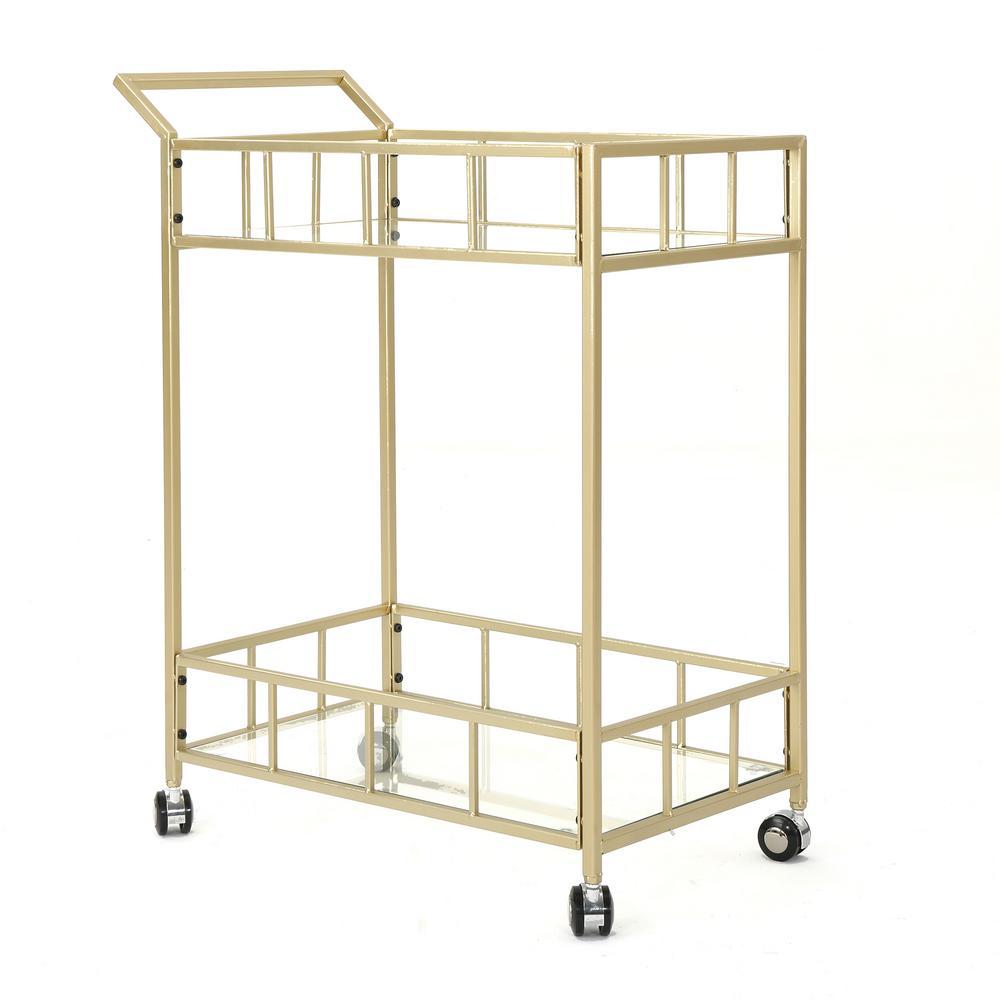 Falon Modern Glam Gold Iron 2-Tier Bar Cart with Glass Shelves
