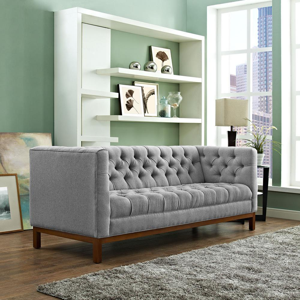 MODWAY Panache Expectation Gray Upholstered Fabric Sofa