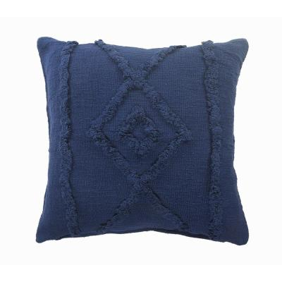 Tufted Solid Blue Diamond Cozy Poly-Fill 20 in. x 20 in. Throw Pillow