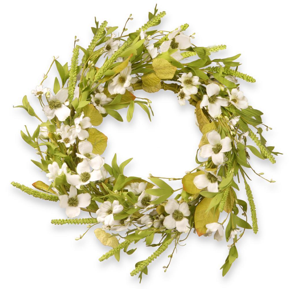 22 in. Dogwood White Wreath