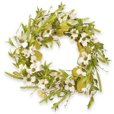 22 in. Dogwood White Wreath
