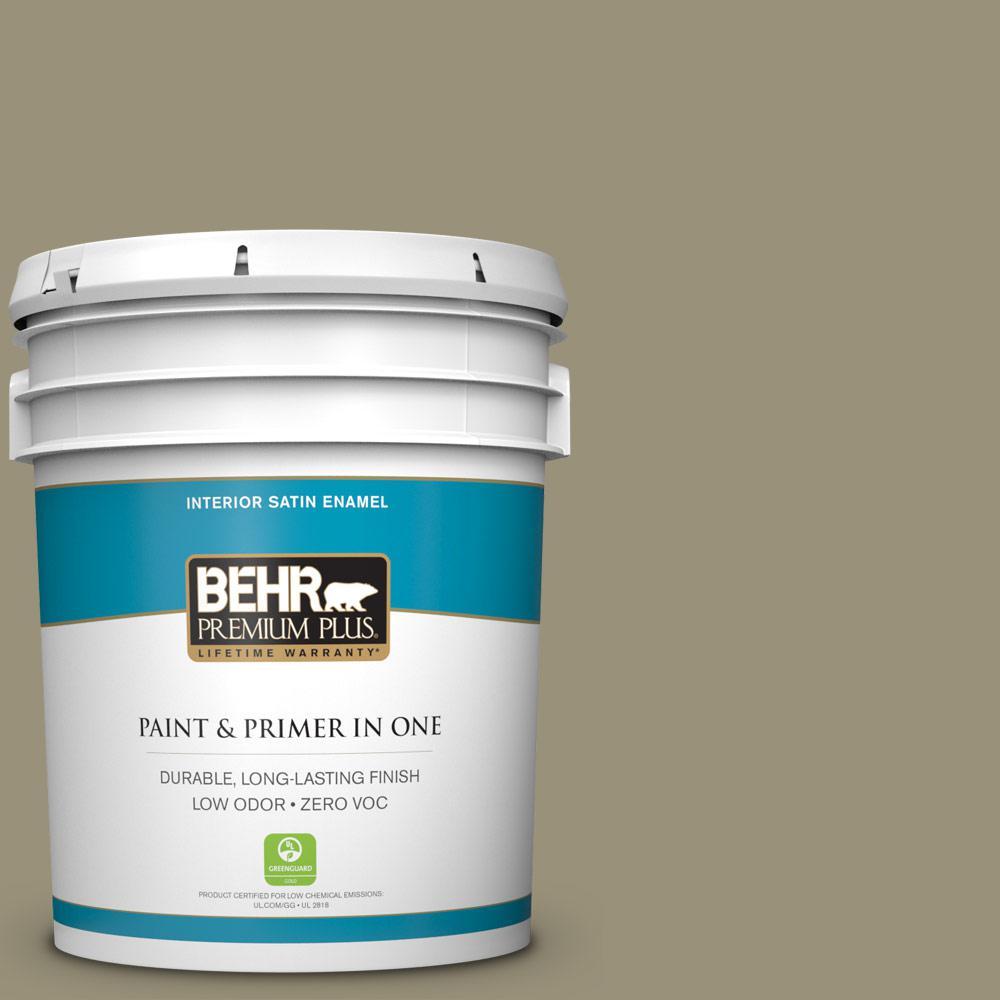 BEHR Premium Plus 5-gal. #N340-5 Grassy Savannah Satin Enamel Interior Paint