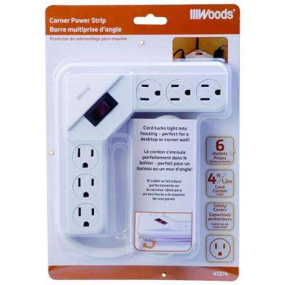 6-Outlet Corner Surge Protector with 4 ft. Cord