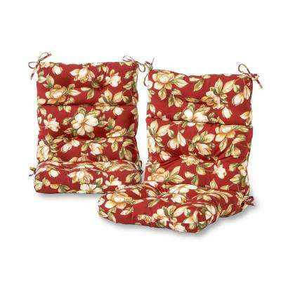 Roma Floral Outdoor High Back Dining Chair Cushion (2-Pack)