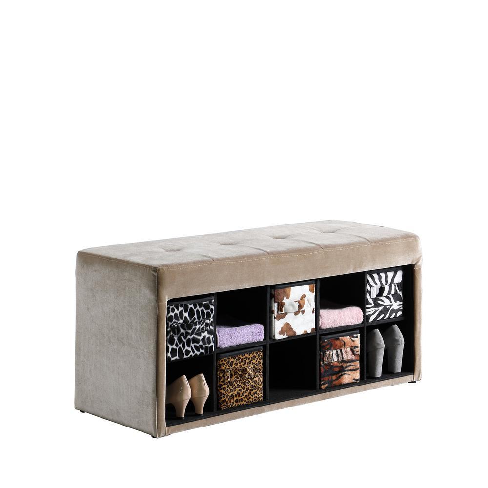 18.75 in. Light Brown Cadi Velour Tufted Multi-Purpose Storage Bench