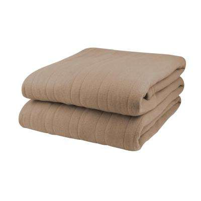 1004 Series Comfort Knit Heated 100 in. x 90 in. Fawn King Size Blanket