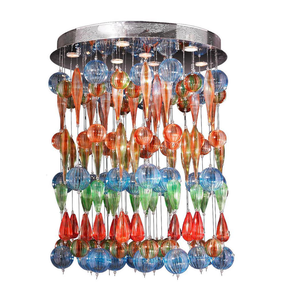 Niagara Collection 9-Light Chrome and Multi-Color Blown Glass Bubble Flush Mount