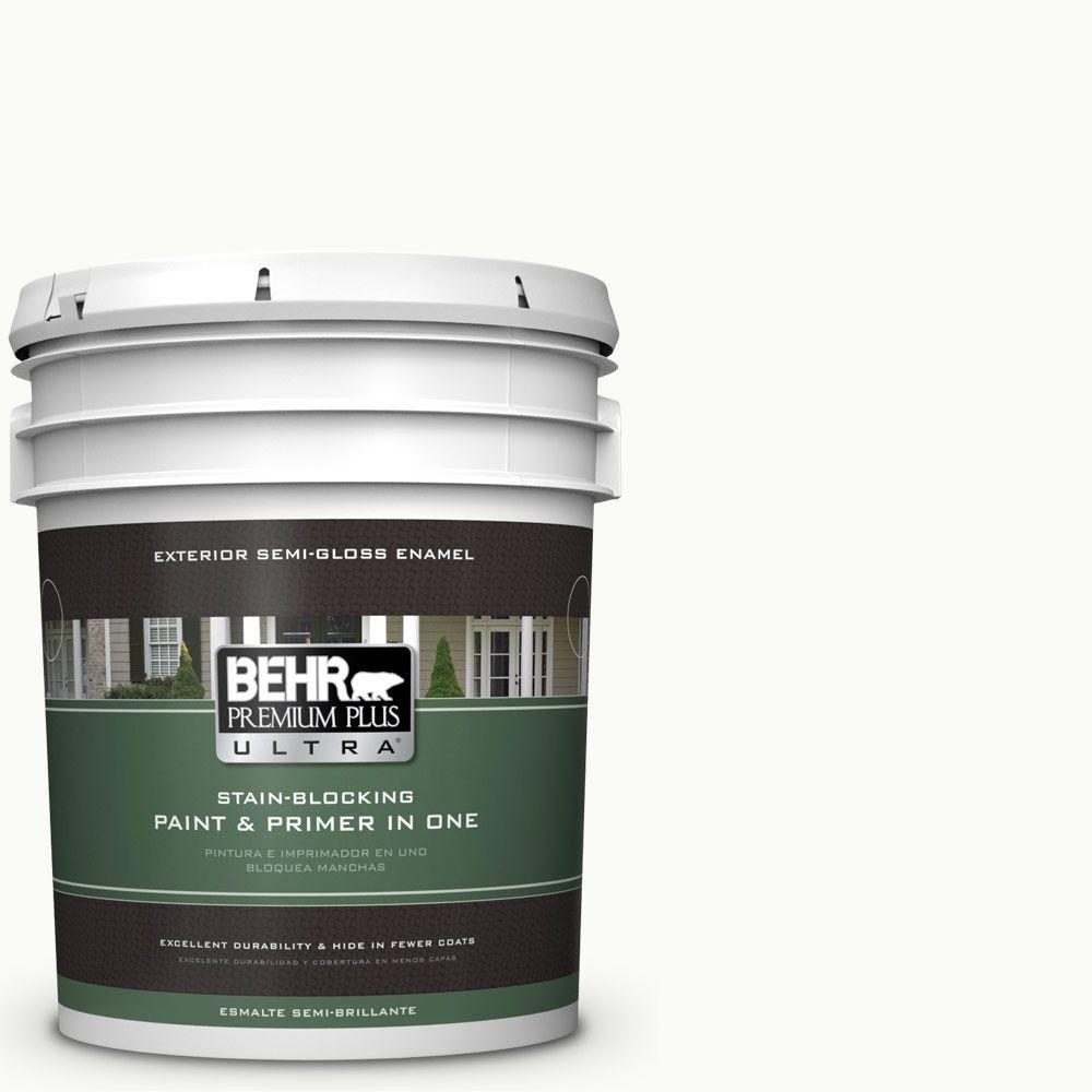 BEHR Premium Plus Ultra 5-gal. #PPU18-6 Ultra Pure White Semi-Gloss Enamel Exterior Paint