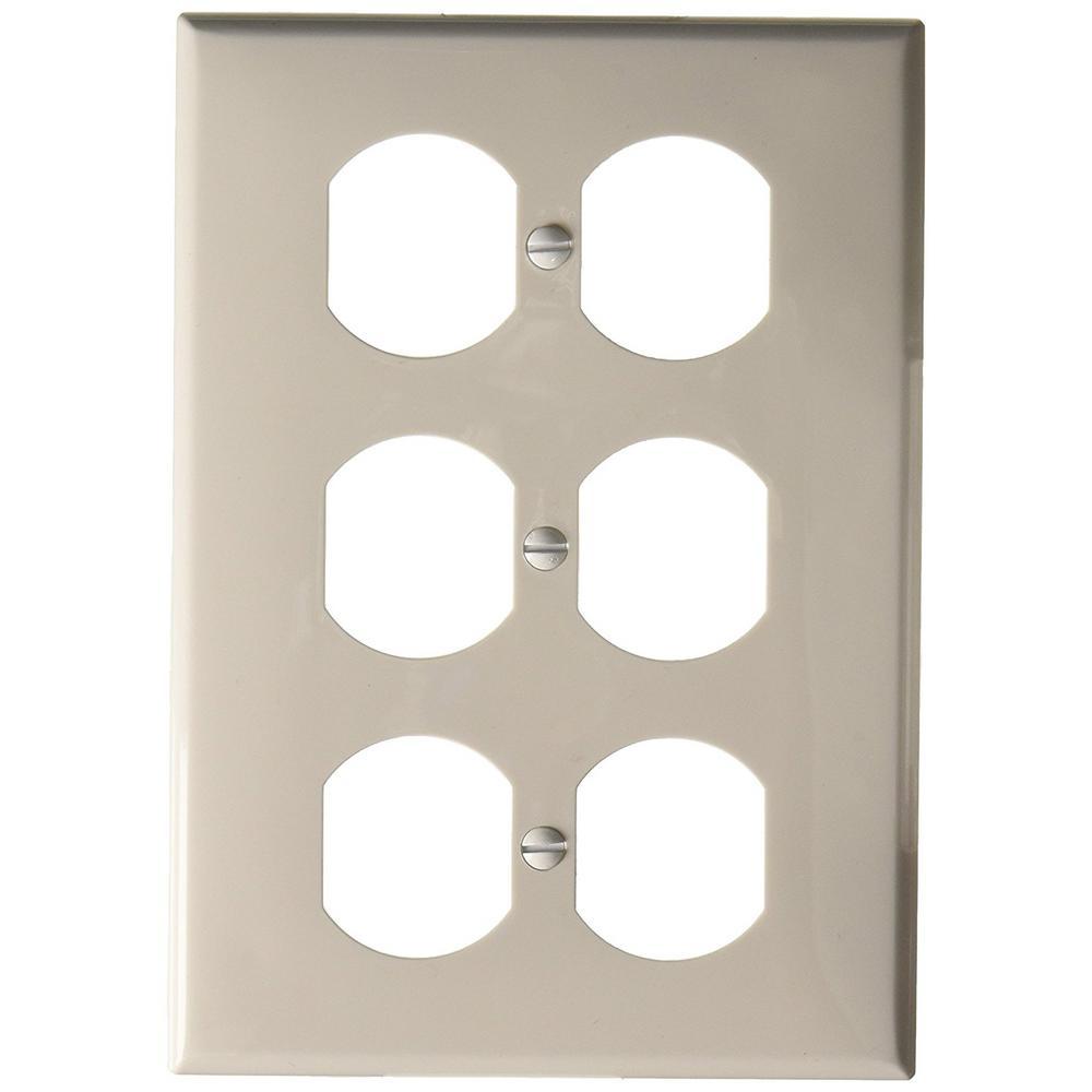 3gang 3 duplex receptacles standard size nylon wall plate white