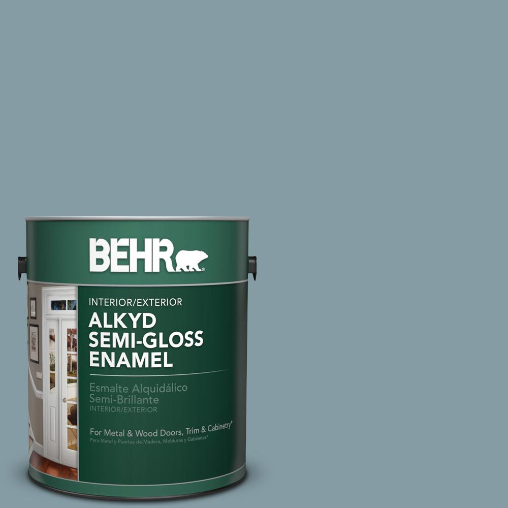 1 gal. #540F-4 Shale Gray Semi-Gloss Enamel Alkyd Interior/Exterior Paint