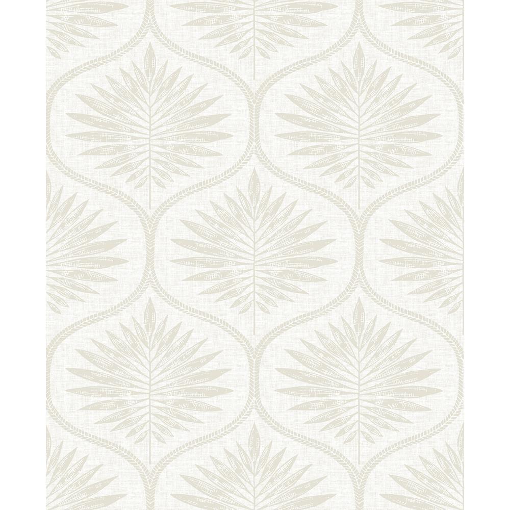 Laurel Bone Ogee Wallpaper