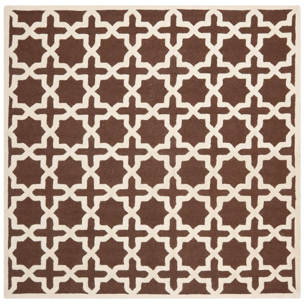 Cambridge Dark Brown/Ivory 8 ft. x 8 ft. Square Area Rug