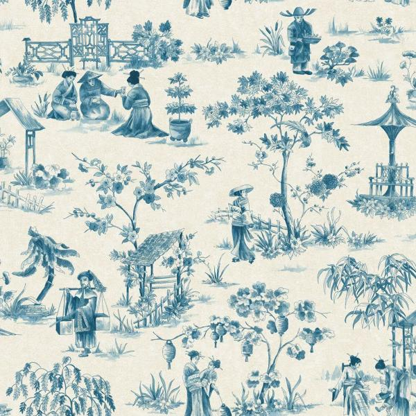 The Wallpaper Company 56 sq. ft. Blue China Toile Wallpaper-DISCONTINUED